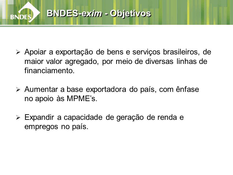 BNDES-exim - Objetivos Apoiar a exportação de bens e serviços brasileiros, de maior valor agregado, por meio de diversas linhas de financiamento. Aume