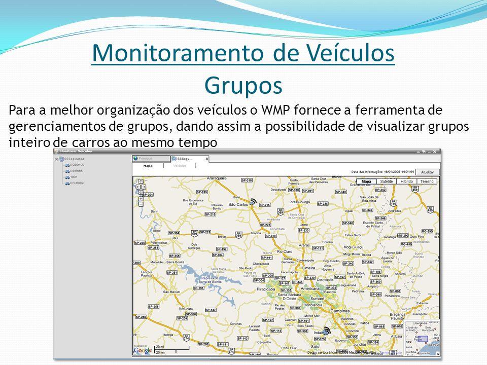 Monitoramento de Veículos Grupos Para a melhor organização dos veículos o WMP fornece a ferramenta de gerenciamentos de grupos, dando assim a possibil