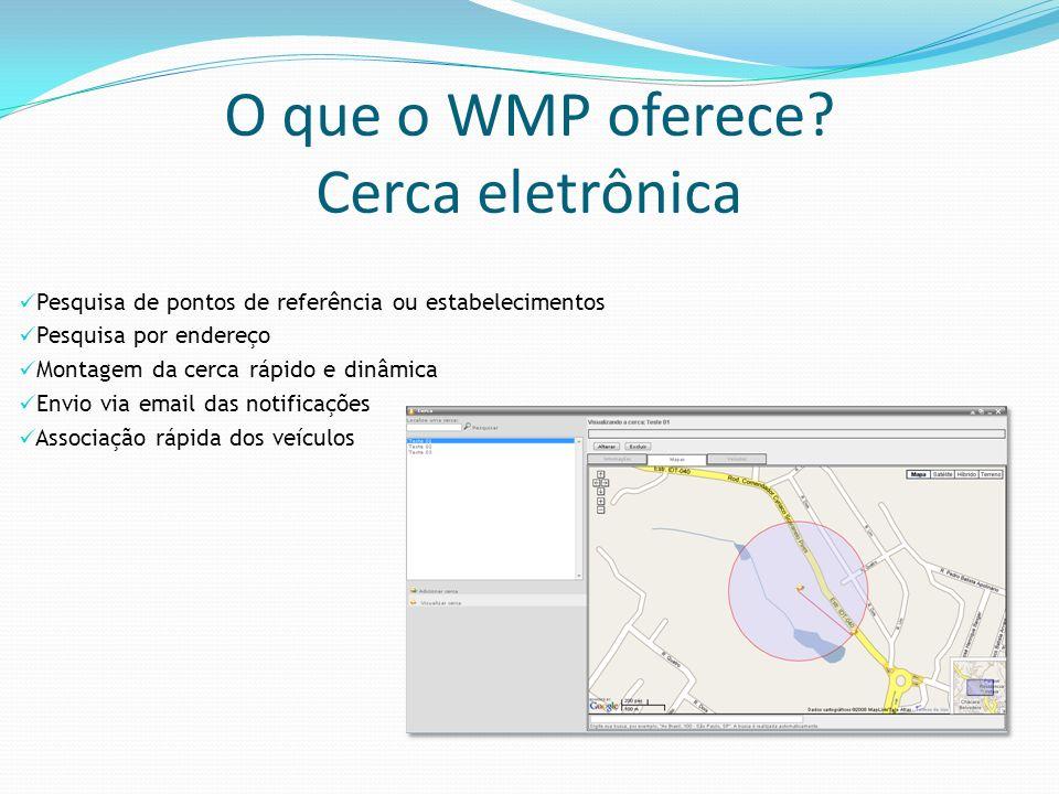 O que o WMP oferece? Cerca eletrônica Pesquisa de pontos de referência ou estabelecimentos Pesquisa por endereço Montagem da cerca rápido e dinâmica E