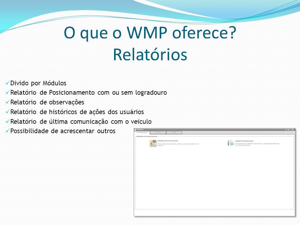 O que o WMP oferece? Relatórios Divido por Módulos Relatório de Posicionamento com ou sem logradouro Relatório de observações Relatório de históricos