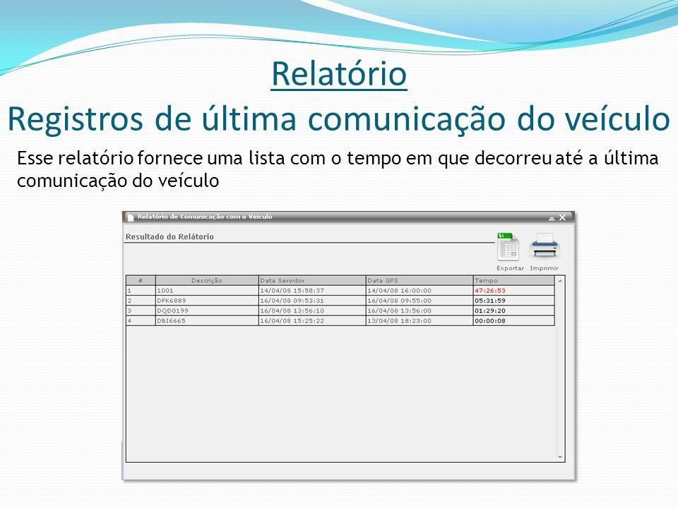 Relatório Registros de última comunicação do veículo Esse relatório fornece uma lista com o tempo em que decorreu até a última comunicação do veículo
