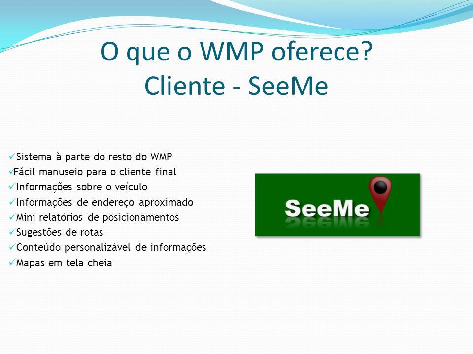 O que o WMP oferece? Cliente - SeeMe Sistema à parte do resto do WMP Fácil manuseio para o cliente final Informações sobre o veículo Informações de en