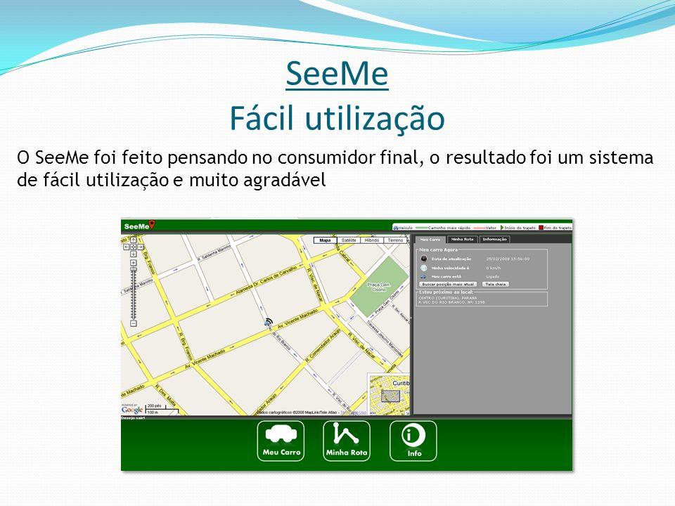 SeeMe Fácil utilização O SeeMe foi feito pensando no consumidor final, o resultado foi um sistema de fácil utilização e muito agradável