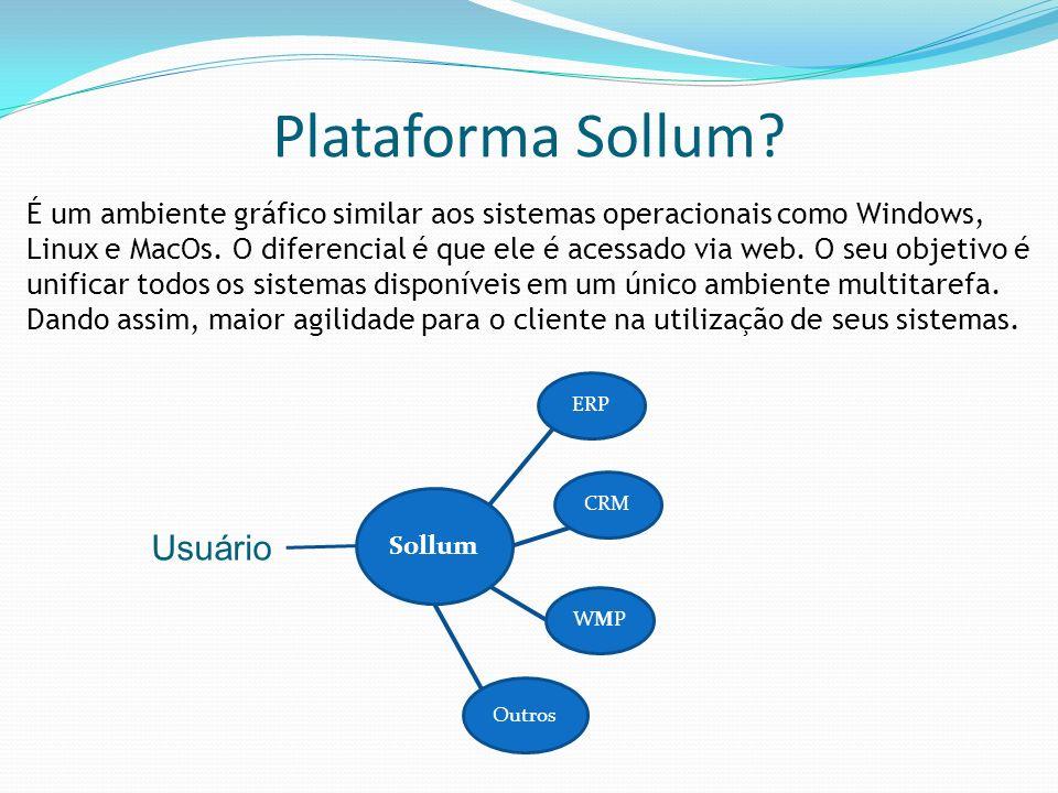Plataforma Sollum? É um ambiente gráfico similar aos sistemas operacionais como Windows, Linux e MacOs. O diferencial é que ele é acessado via web. O