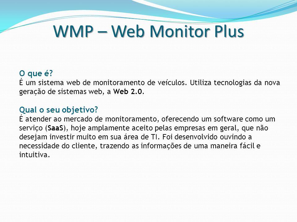 WMP – Web Monitor Plus O que é? É um sistema web de monitoramento de veículos. Utiliza tecnologias da nova geração de sistemas web, a Web 2.0. Qual o