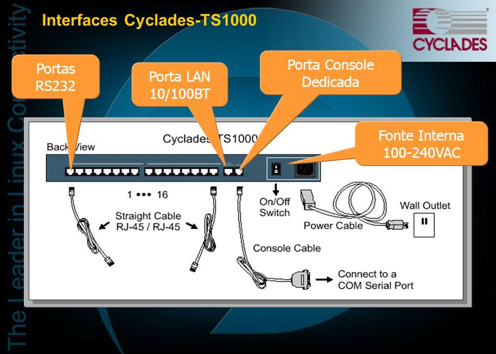 Servidores de Terminal e Acesso a Console Cyclades TS1000 - 16 portas Cyclades TS2000 - 32 portas Cyclades TS400 - 4 portas Cyclades TS800 - 8 portas IDEAL PARA CONSOLE PORT MANAGEMENT