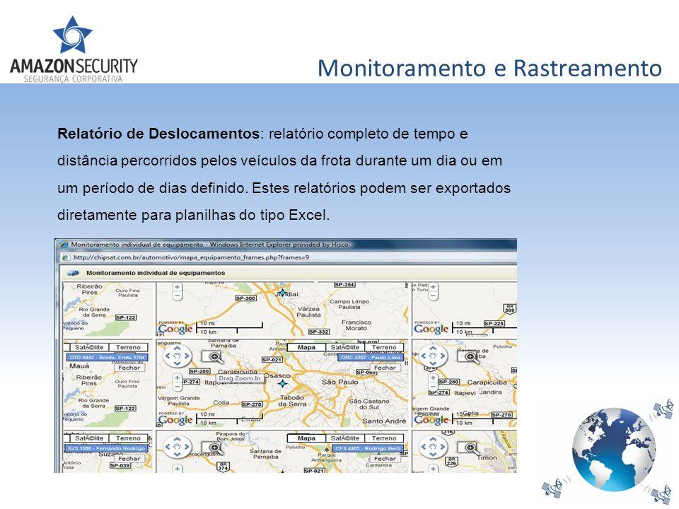 Monitoramento e Rastreamento Relatório de Deslocamentos: relatório completo de tempo e distância percorridos pelos veículos da frota durante um dia ou