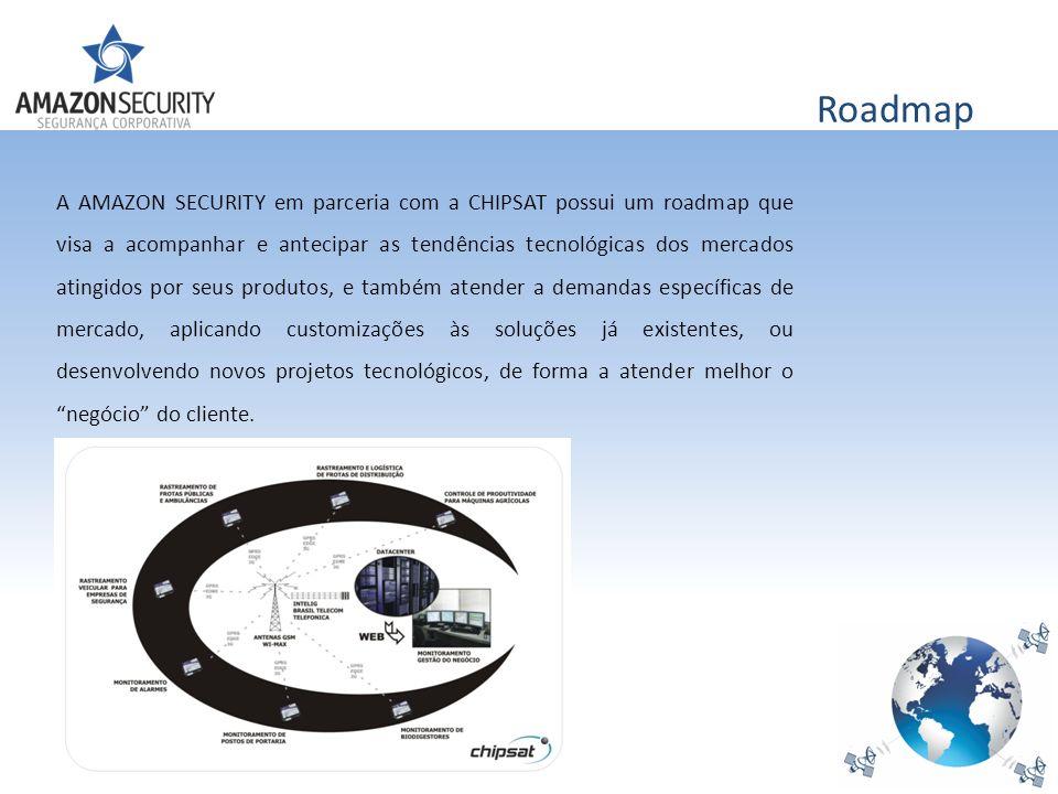 Roadmap A AMAZON SECURITY em parceria com a CHIPSAT possui um roadmap que visa a acompanhar e antecipar as tendências tecnológicas dos mercados atingi