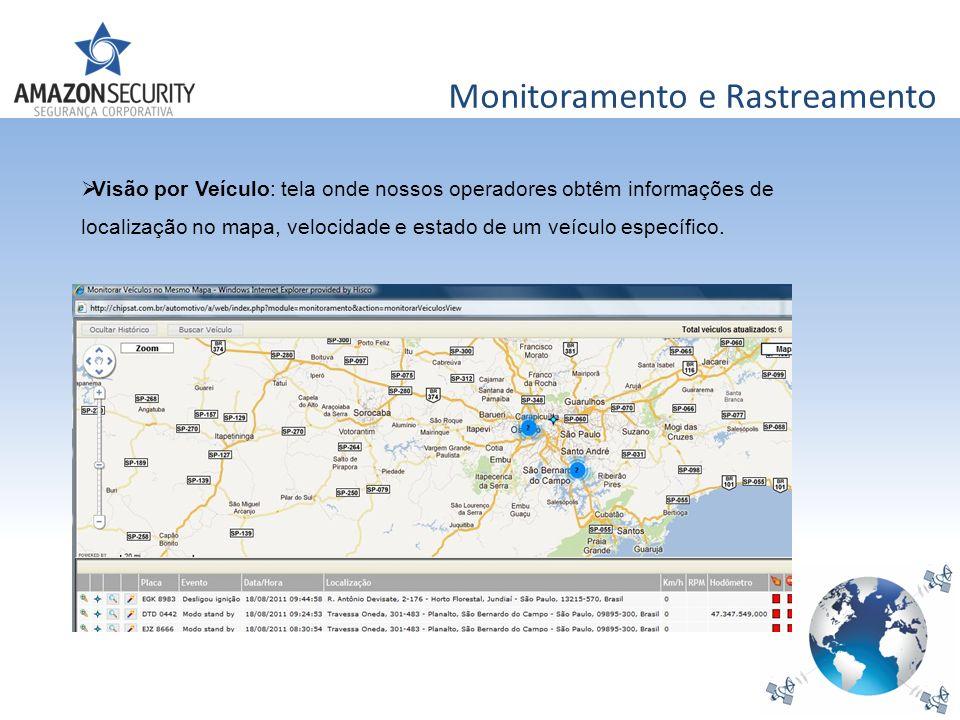 Monitoramento e Rastreamento Visão por Veículo: tela onde nossos operadores obtêm informações de localização no mapa, velocidade e estado de um veícul