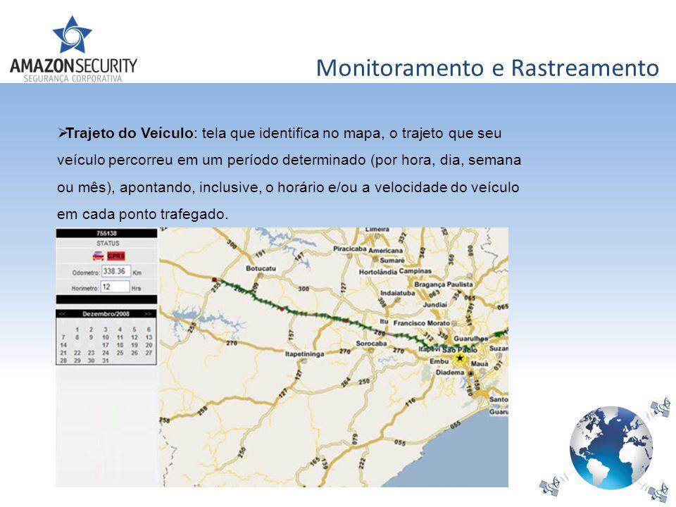 Monitoramento e Rastreamento Trajeto do Veículo: tela que identifica no mapa, o trajeto que seu veículo percorreu em um período determinado (por hora,