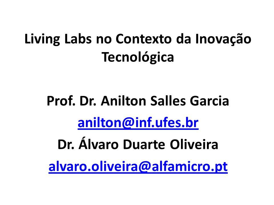 Living Labs no Contexto da Inovação Tecnológica Prof. Dr. Anilton Salles Garcia anilton@inf.ufes.br Dr. Álvaro Duarte Oliveira alvaro.oliveira@alfamic