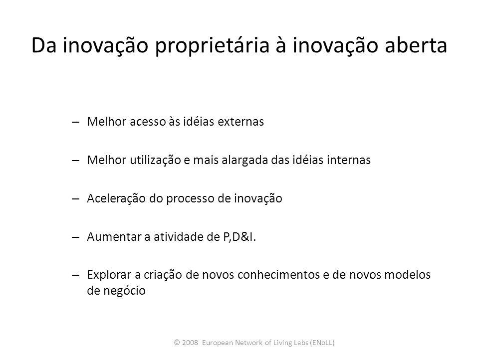 – Melhor acesso às idéias externas – Melhor utilização e mais alargada das idéias internas – Aceleração do processo de inovação – Aumentar a atividade
