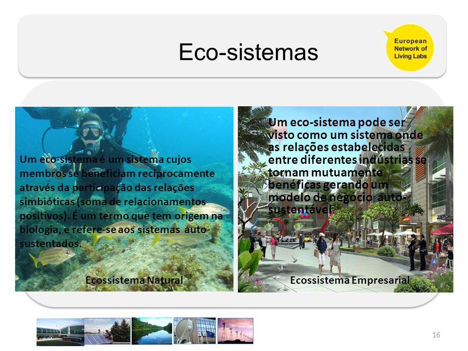 16 Ecossistema Empresarial Um eco-sistema é um sistema cujos membros se beneficiam recíprocamente através da participação das relações simbióticas (so
