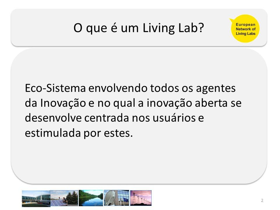 2 O que é um Living Lab? Eco-Sistema envolvendo todos os agentes da Inovação e no qual a inovação aberta se desenvolve centrada nos usuários e estimul