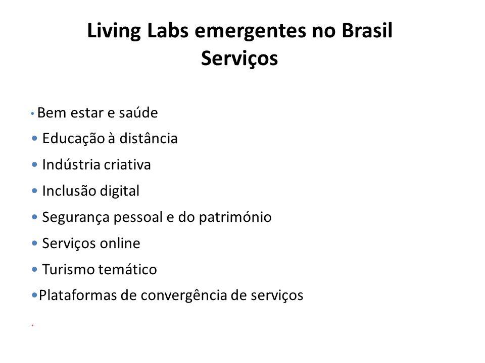 Living Labs emergentes no Brasil Serviços Bem estar e saúde Educação à distância Indústria criativa Inclusão digital Segurança pessoal e do património