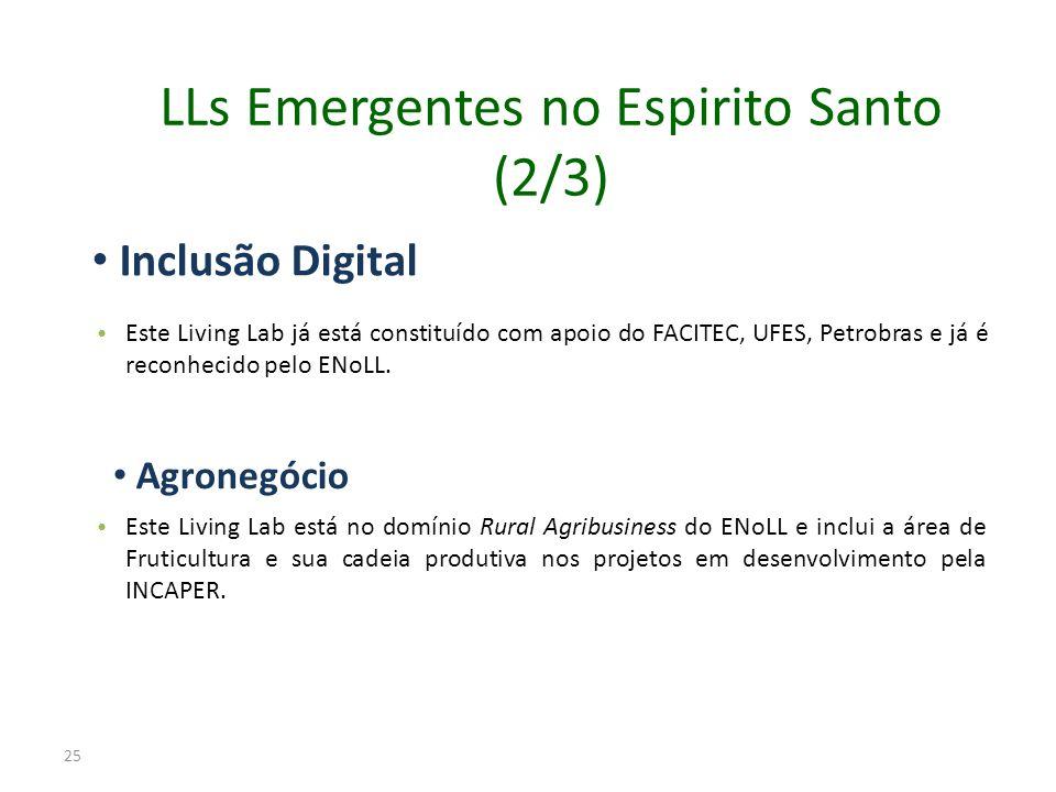 Inclusão Digital Este Living Lab já está constituído com apoio do FACITEC, UFES, Petrobras e já é reconhecido pelo ENoLL. Agronegócio Este Living Lab