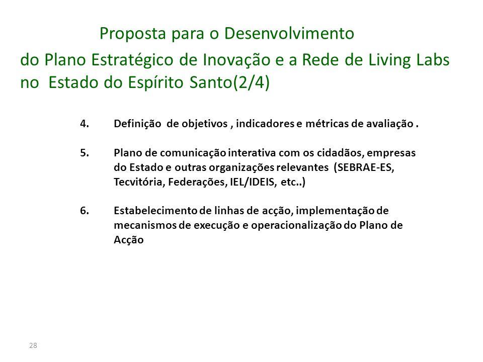 28 4.Definição de objetivos, indicadores e métricas de avaliação. 5.Plano de comunicação interativa com os cidadãos, empresas do Estado e outras organ