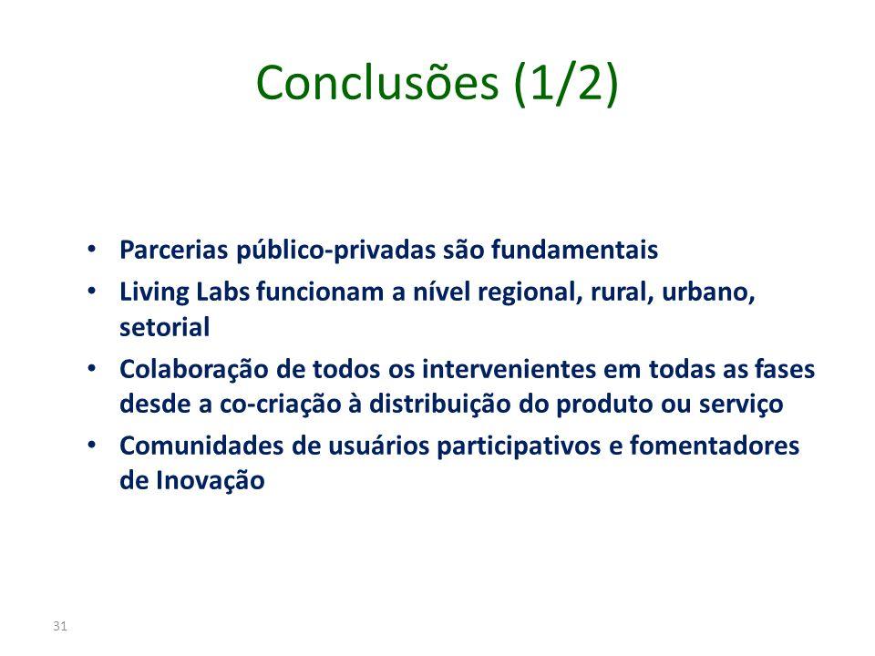 Conclusões (1/2) Parcerias público-privadas são fundamentais Living Labs funcionam a nível regional, rural, urbano, setorial Colaboração de todos os i