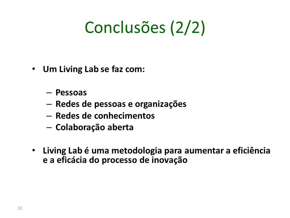 Conclusões (2/2) Um Living Lab se faz com: – Pessoas – Redes de pessoas e organizações – Redes de conhecimentos – Colaboração aberta Living Lab é uma