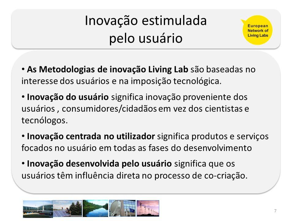 7 Inovação estimulada pelo usuário Inovação estimulada pelo usuário As Metodologias de inovação Living Lab são baseadas no interesse dos usuários e na