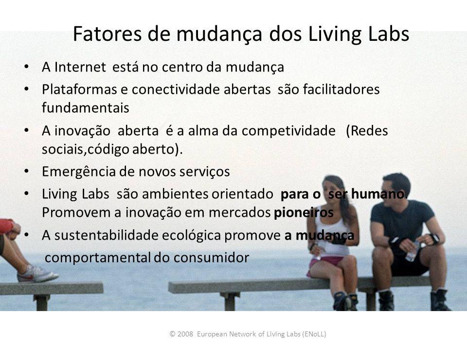 Fatores de mudança dos Living Labs A Internet está no centro da mudança Plataformas e conectividade abertas são facilitadores fundamentais A inovação