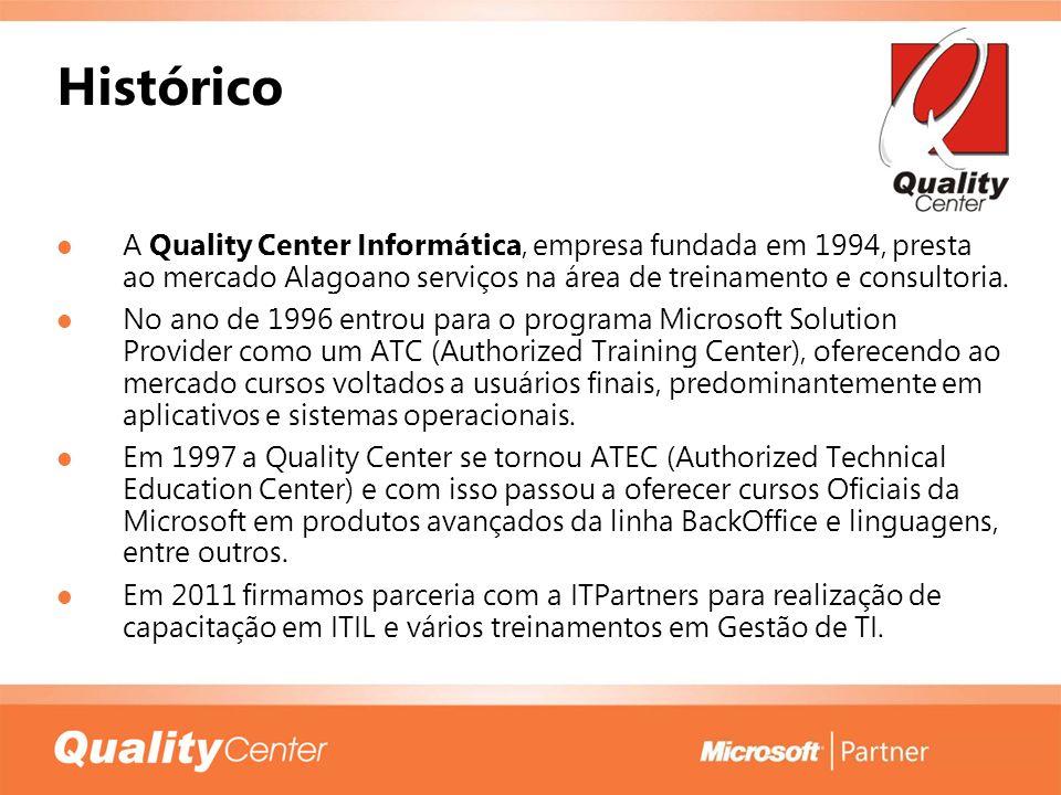 Histórico A Quality Center Informática, empresa fundada em 1994, presta ao mercado Alagoano serviços na área de treinamento e consultoria. No ano de 1