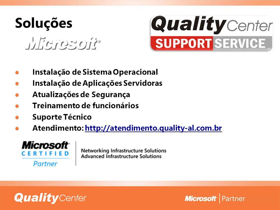 Soluções Instalação de Sistema Operacional Instalação de Sistema Operacional Instalação de Aplicações Servidoras Instalação de Aplicações Servidoras A
