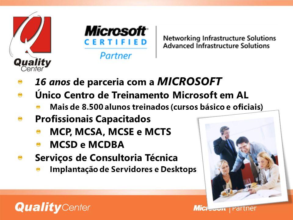 16 anos de parceria com a MICROSOFT Único Centro de Treinamento Microsoft em AL Mais de 8.500 alunos treinados (cursos básico e oficiais) Profissionai