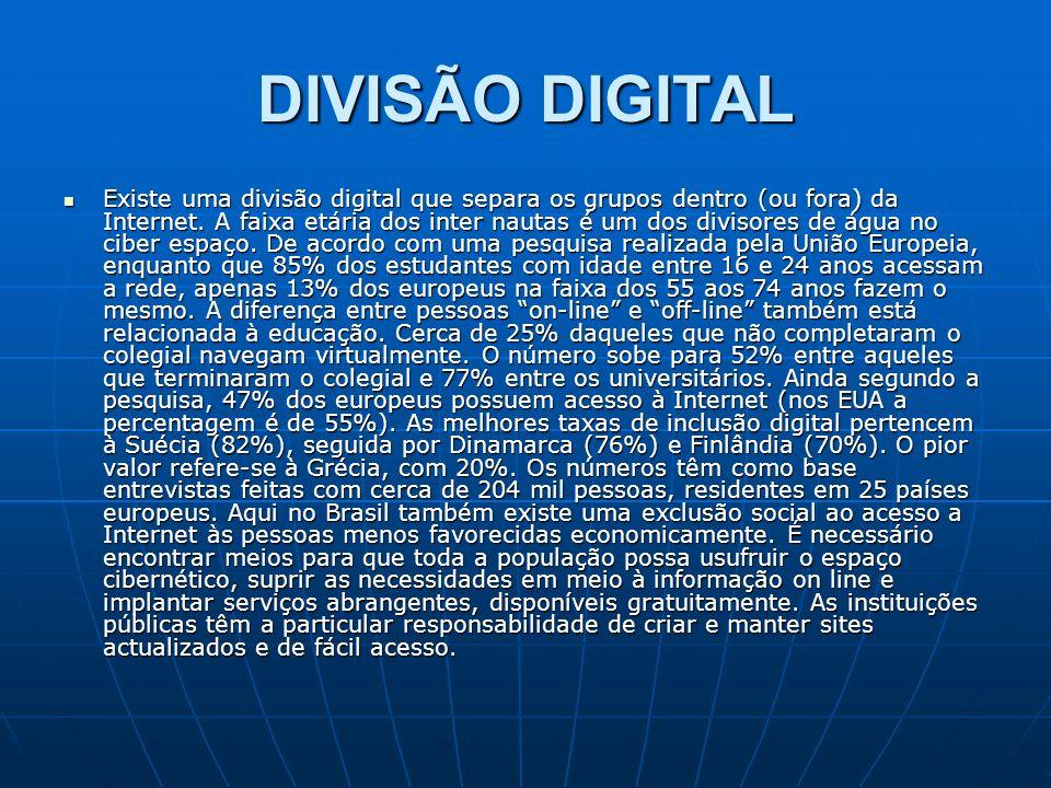DIVISÃO DIGITAL Existe uma divisão digital que separa os grupos dentro (ou fora) da Internet. A faixa etária dos inter nautas é um dos divisores de ág