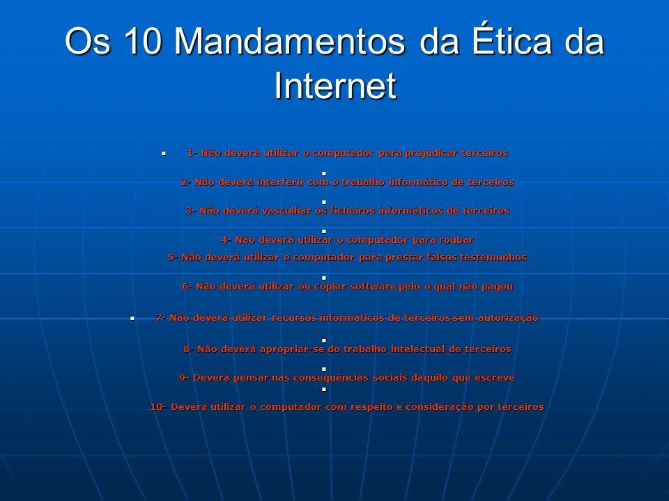 Os 10 Mandamentos da Ética da Internet 1- Não deverá utilizar o computador para prejudicar terceiros 1- Não deverá utilizar o computador para prejudic