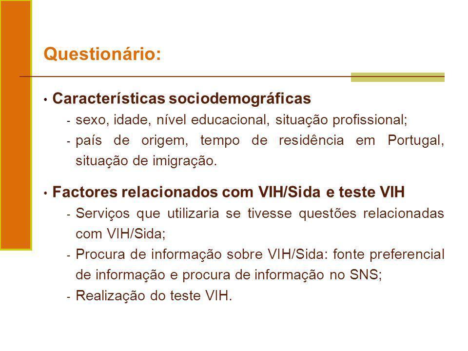Características sociodemográficas - sexo, idade, nível educacional, situação profissional; - país de origem, tempo de residência em Portugal, situação