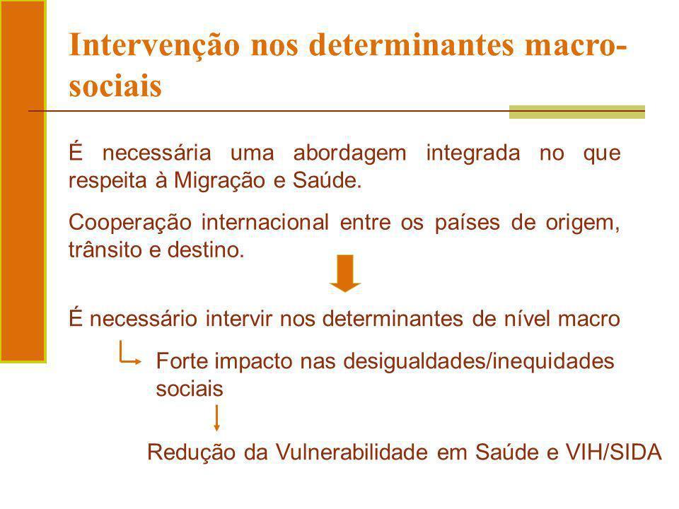 É necessário intervir nos determinantes de nível macro Intervenção nos determinantes macro- sociais É necessária uma abordagem integrada no que respei