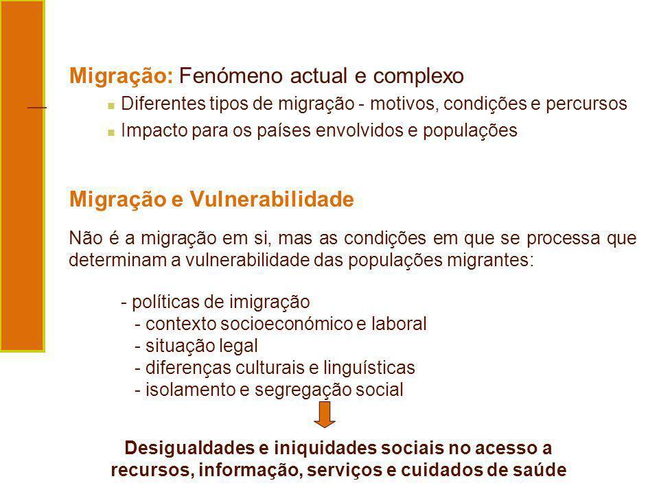 Desigualdades e iniquidades sociais no acesso a recursos, informação, serviços e cuidados de saúde Migração: Fenómeno actual e complexo Diferentes tip