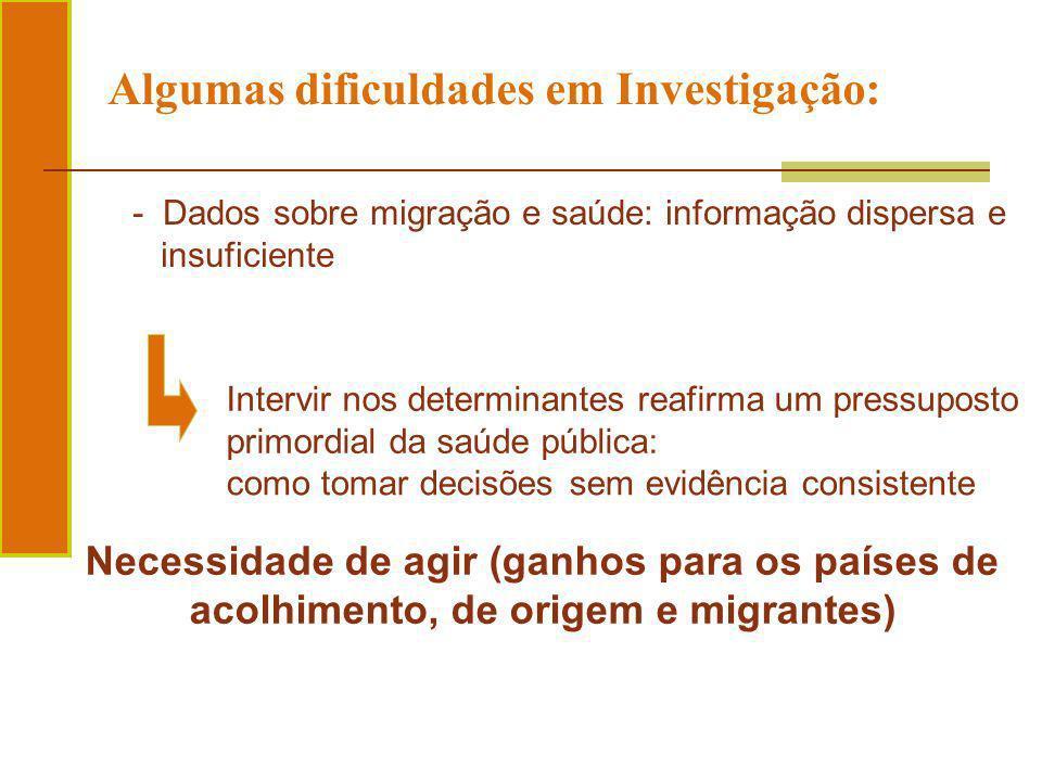 Algumas dificuldades em Investigação: Intervir nos determinantes reafirma um pressuposto primordial da saúde pública: - Dados sobre migração e saúde: