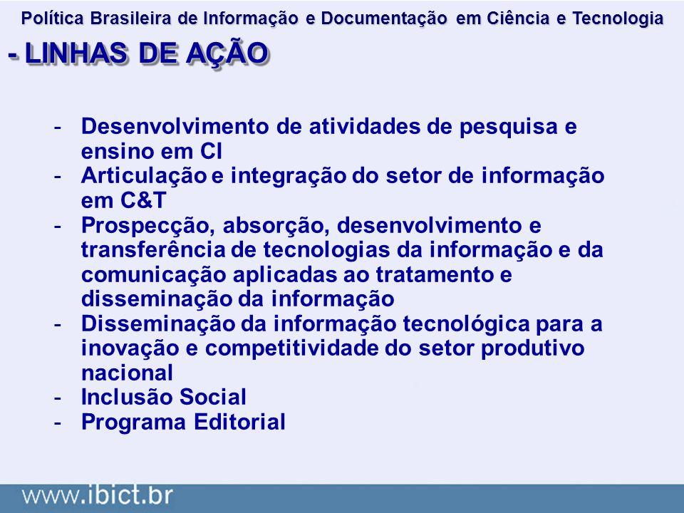 - LINHAS DE AÇÃO -Desenvolvimento de atividades de pesquisa e ensino em CI -Articulação e integração do setor de informação em C&T -Prospecção, absorç