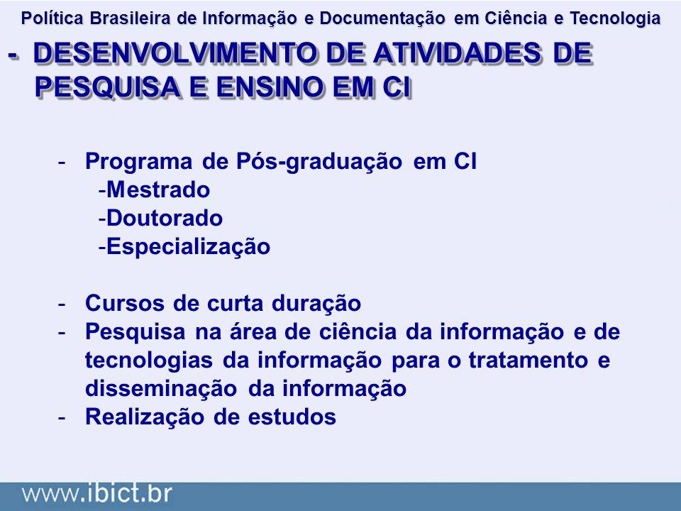 - DESENVOLVIMENTO DE ATIVIDADES DE PESQUISA E ENSINO EM CI -Programa de Pós-graduação em CI -Mestrado -Doutorado -Especialização -Cursos de curta dura