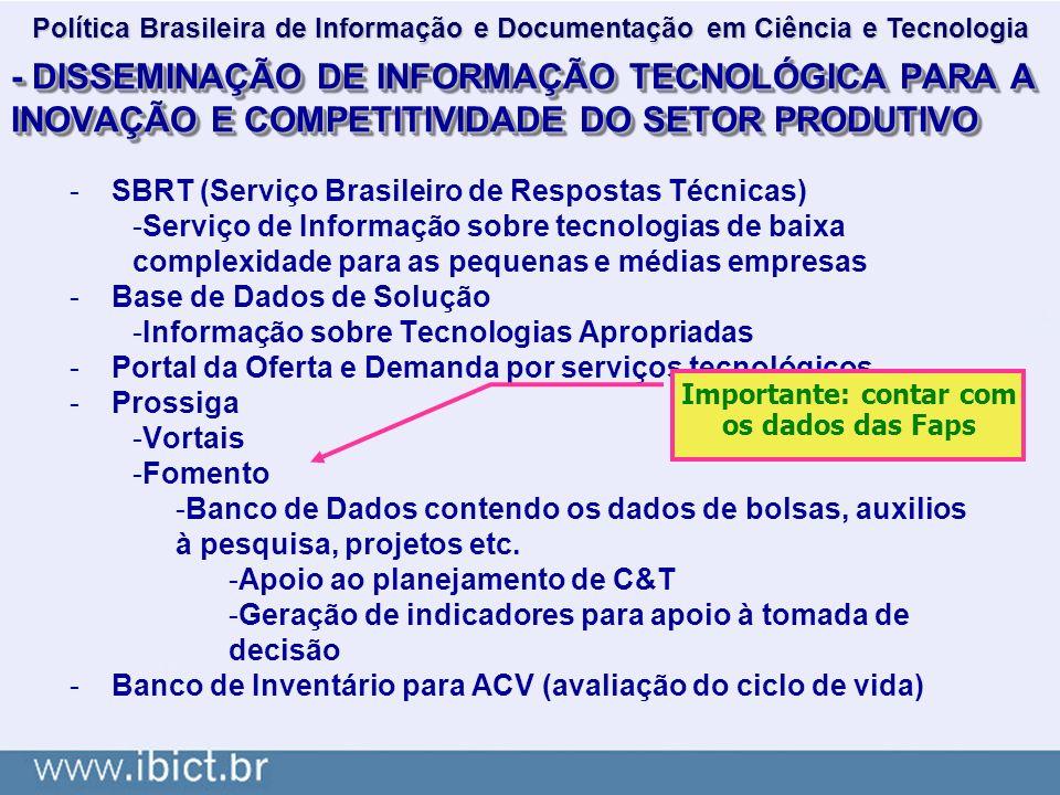 - DISSEMINAÇÃO DE INFORMAÇÃO TECNOLÓGICA PARA A INOVAÇÃO E COMPETITIVIDADE DO SETOR PRODUTIVO -SBRT (Serviço Brasileiro de Respostas Técnicas) -Serviç
