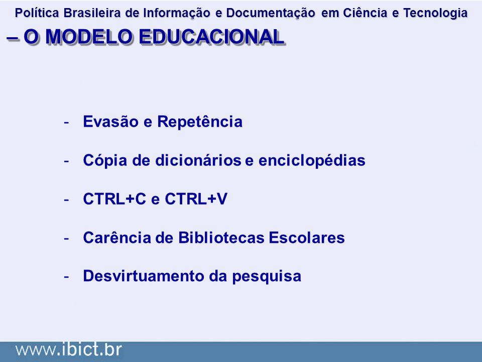 – O MODELO EDUCACIONAL -Evasão e Repetência -Cópia de dicionários e enciclopédias -CTRL+C e CTRL+V -Carência de Bibliotecas Escolares -Desvirtuamento