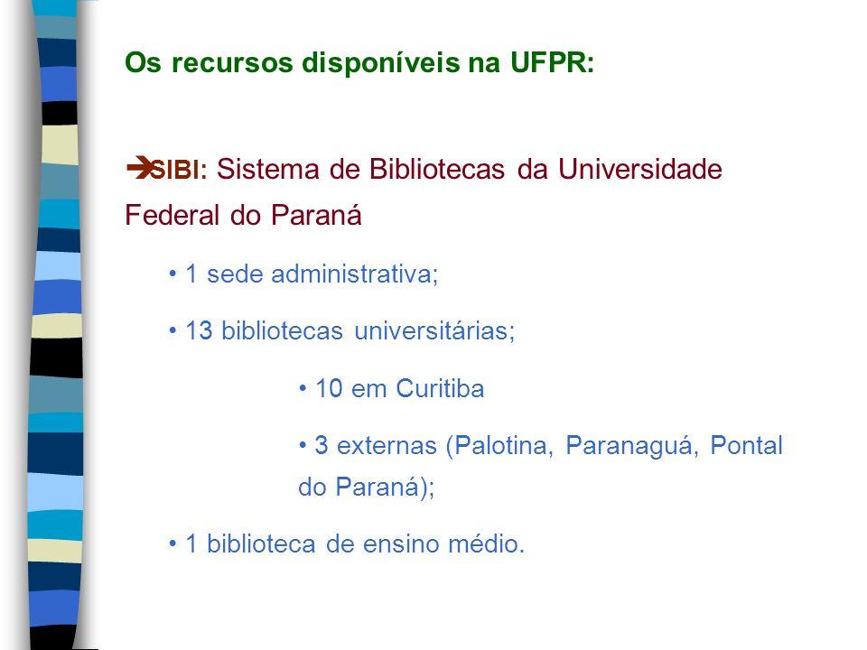 SIBI: Sistema de Bibliotecas da Universidade Federal do Paraná 1 sede administrativa; 13 bibliotecas universitárias; 10 em Curitiba 3 externas (Paloti