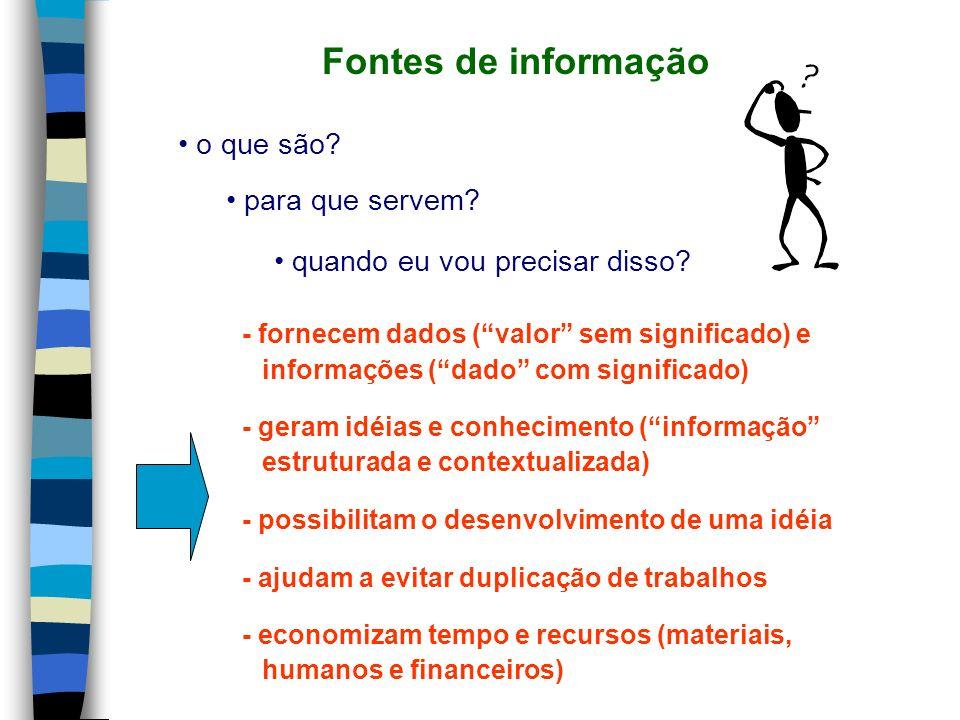 Fontes de informação o que são? para que servem? quando eu vou precisar disso? - fornecem dados (valor sem significado) e informações (dado com signif