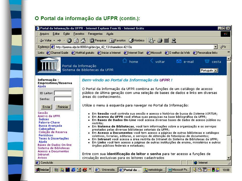 O Portal da informação da UFPR (contin.):
