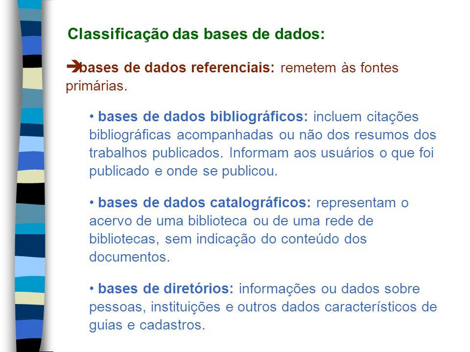 bases de dados referenciais: remetem às fontes primárias. bases de dados bibliográficos: incluem citações bibliográficas acompanhadas ou não dos resum