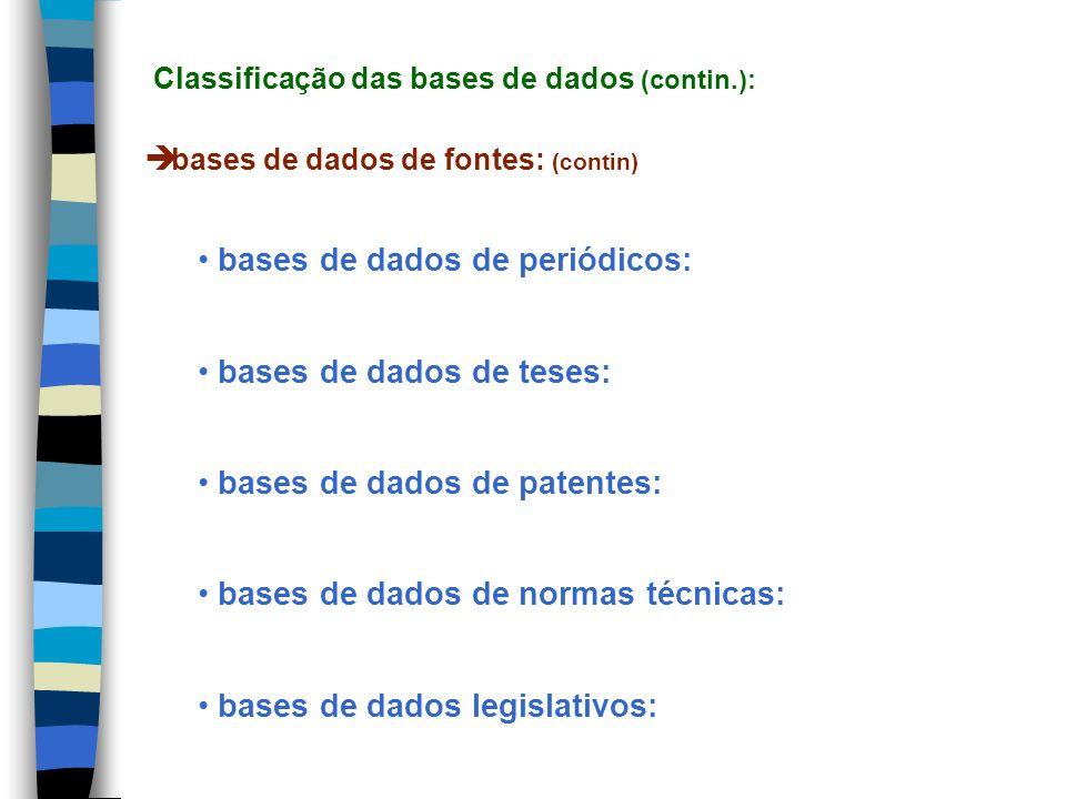 bases de dados de fontes: (contin) bases de dados de periódicos: bases de dados de teses: bases de dados de patentes: bases de dados de normas técnica