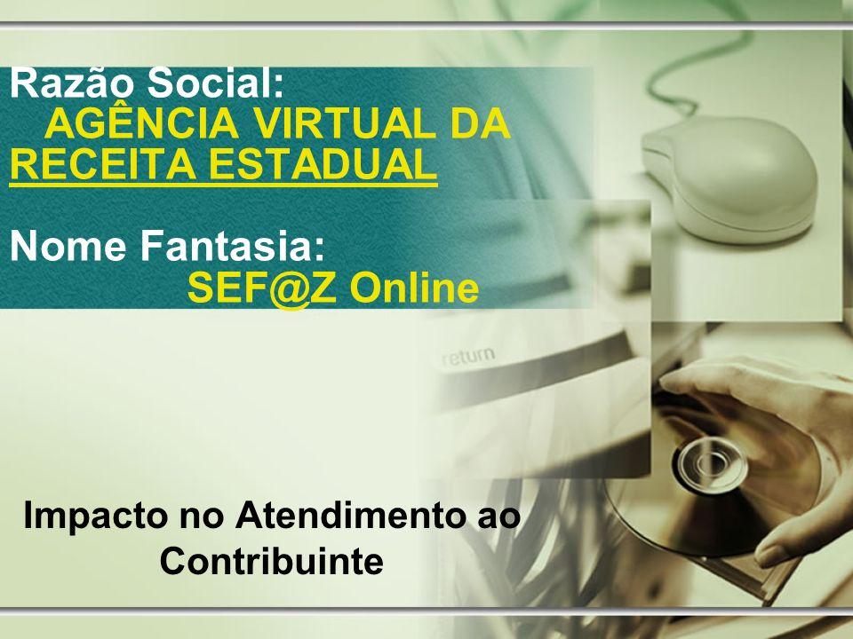 Razão Social: AGÊNCIA VIRTUAL DA RECEITA ESTADUAL Nome Fantasia: SEF@Z Online Impacto no Atendimento ao Contribuinte