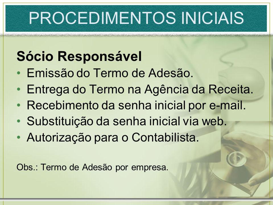PROCEDIMENTOS INICIAIS Contabilista Emissão do Termo de Adesão.