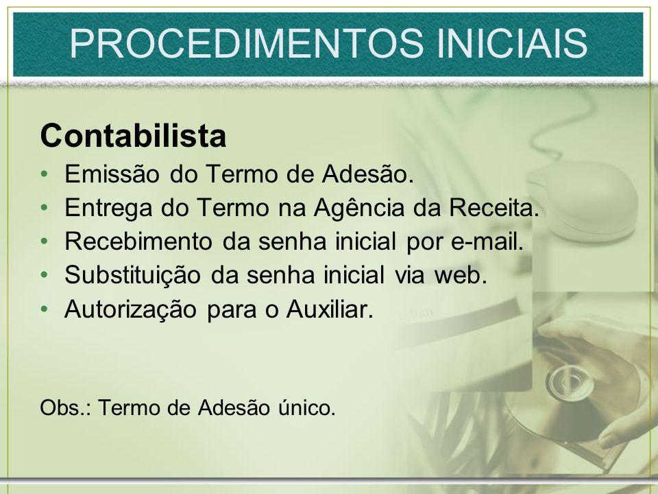 PROCEDIMENTOS INICIAIS Gráfica (AIDF) Emissão do Termo de Adesão.