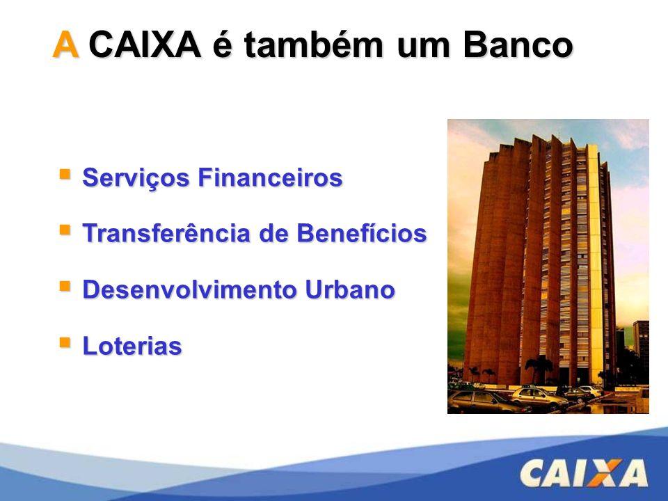 A CAIXA é também um Banco Serviços Financeiros Serviços Financeiros Transferência de Benefícios Transferência de Benefícios Desenvolvimento Urbano Des