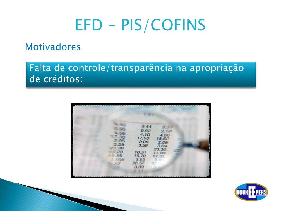 Falta de controle/transparência na apropriação de créditos: Motivadores EFD – PIS/COFINS