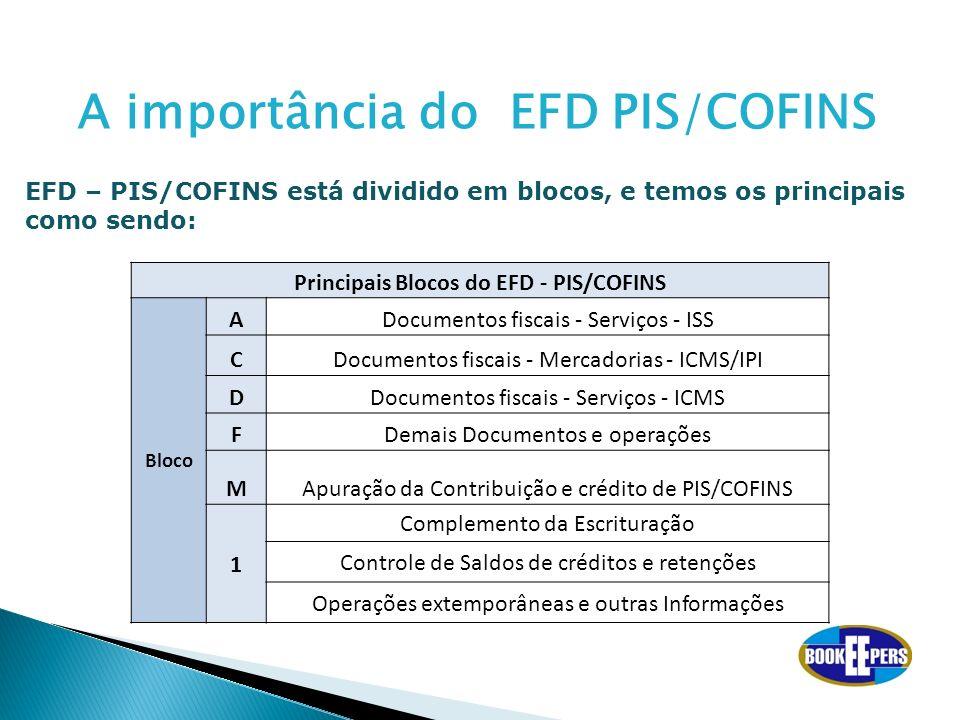 Principais Blocos do EFD - PIS/COFINS Bloco ADocumentos fiscais - Serviços - ISS CDocumentos fiscais - Mercadorias - ICMS/IPI DDocumentos fiscais - Se