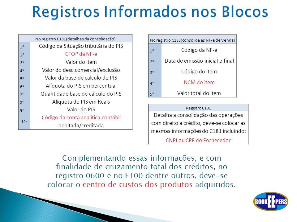 No registro C181(detalhes da consolidação) 1° Código da Situação tributária do PIS 2° CFOP da NF-e 3° Valor do item 4° Valor do desc.comercial/exclusã